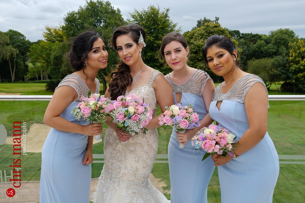 Kingswood Golf Club Surrey wedding bride with bridesmaids