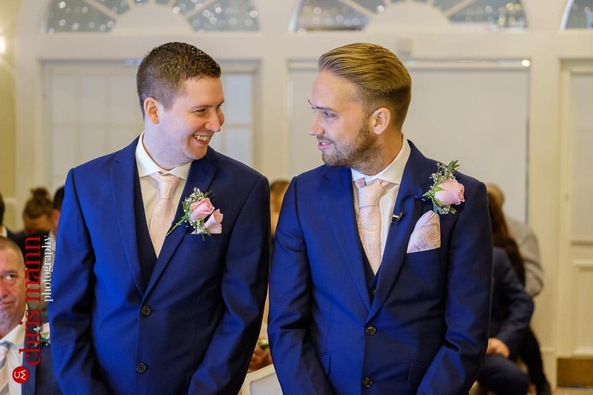 Kingswood Golf Club Surrey wedding groom and best man before ceremony