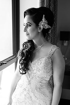 Natasha black and white bride portrait