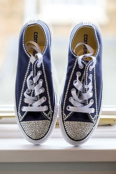 Bride's bling Converse wedding trainers