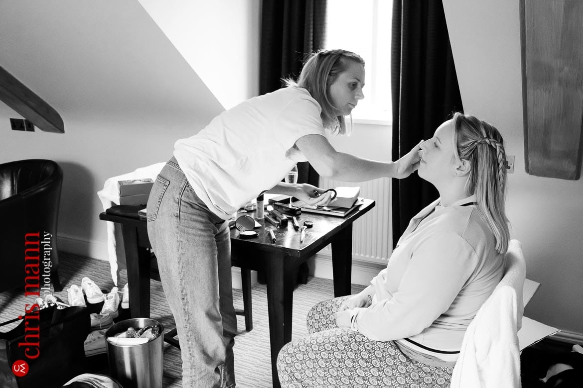 bride and bridesmaids getting ready at Mandolay Hotel Guildford