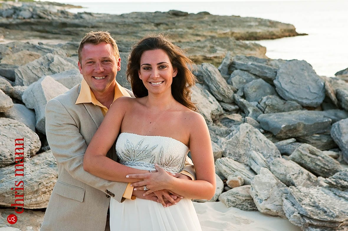 Turks & Caicos honeymoon shoot smiling couple on rocks