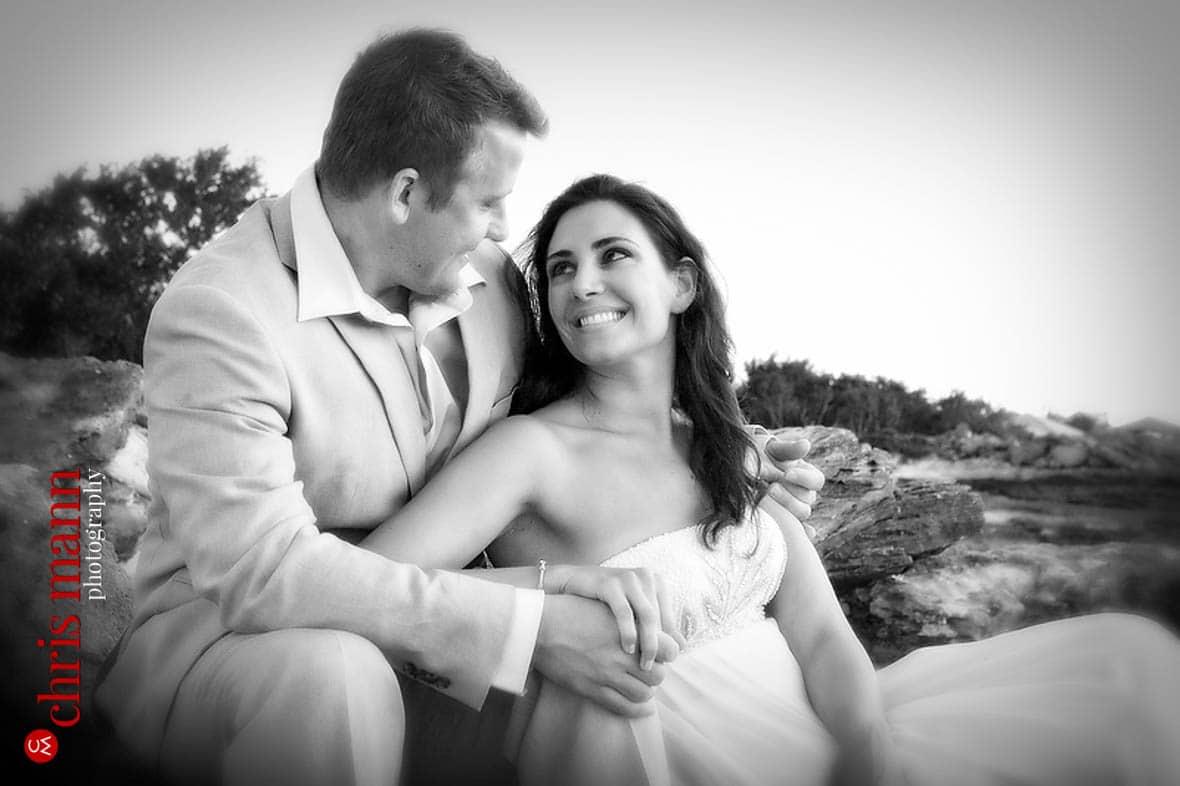 Turks & Caicos honeymoon shoot couple smiling newlyweds black and white photo