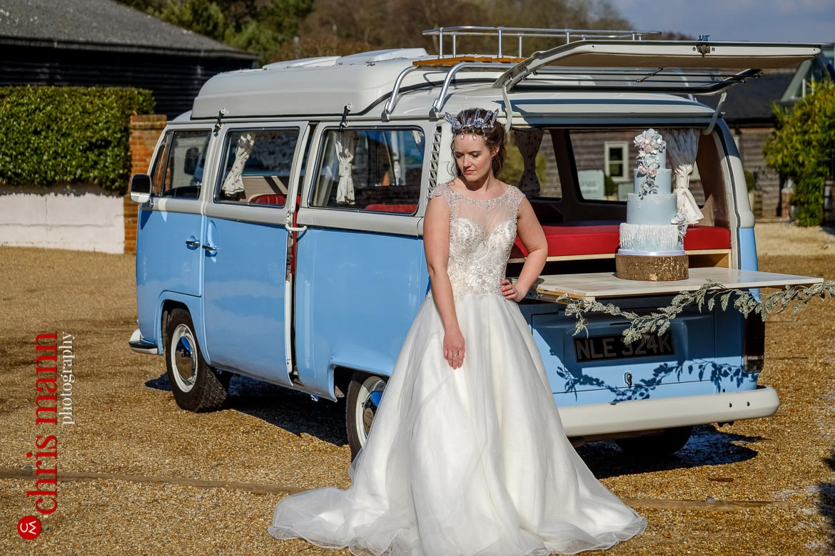 Borrow Mae camper van with bride - Fire and Ice bridal styled shoot at Gate Street Barn