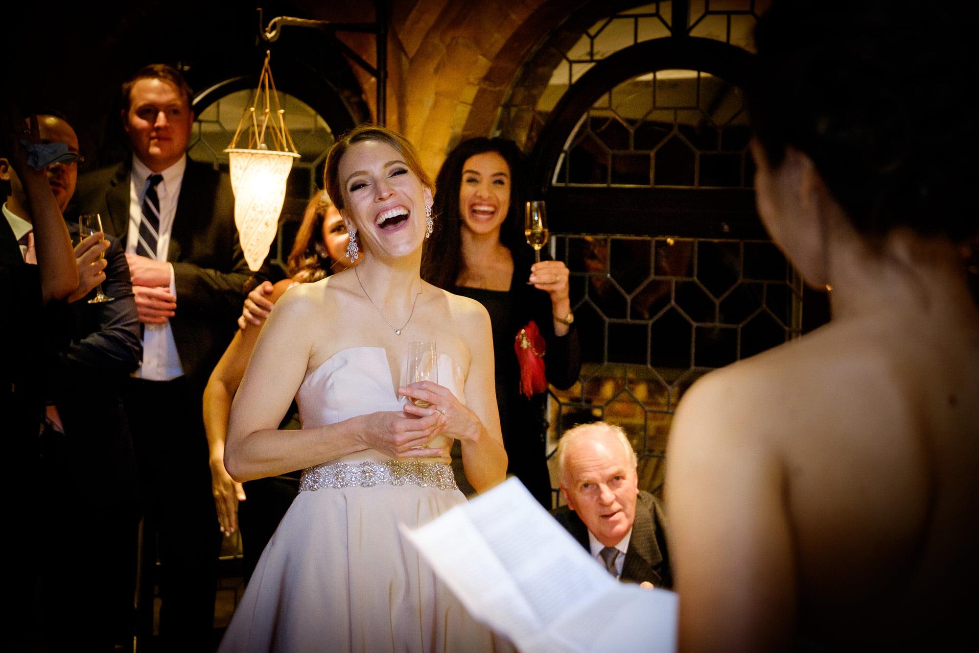 laughign bride weddings peeches Guildford Surrey wedding photographer Chris Mann