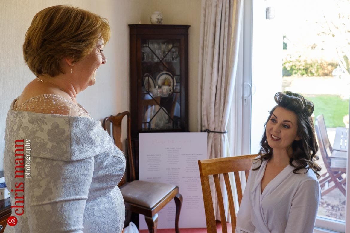 Mickleham Church Box Hill wedding bride chats to mother while getting ready