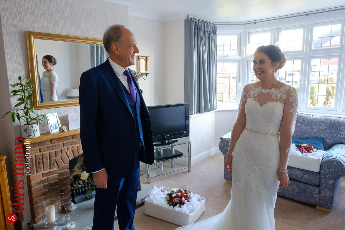 Mickleham Church Box Hill wedding - bride with her father