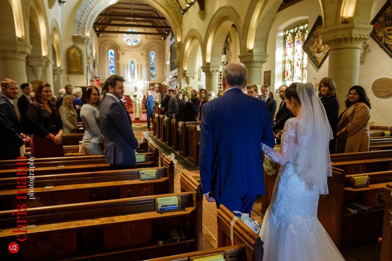 Mickleham Church Box Hill wedding bride and father walk down the aisle