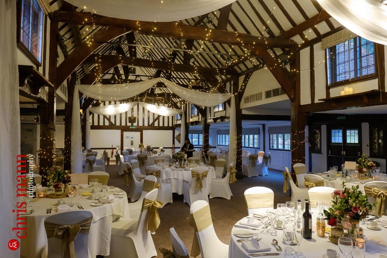 Mercure Burford Bridge Hotel - Tithe Barn ready for the wedding breakfast