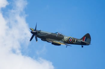Spitfire Mk XIV performs a fly past