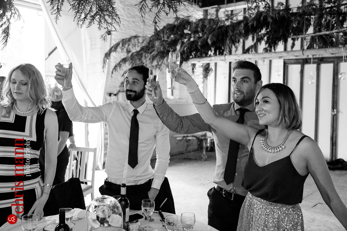 guests toast bride and groom at Oxfordshire country wedding